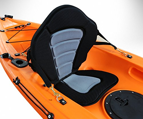 Deluxe Molded Foam Kayak Seat with Zipper Storage Back Pack Fishing Rod Holder by AquRa