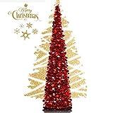 EEX 5ft Sapin de Noël Artificiel Arbre de Noël Pliable Décoration de Fête Maison Rstaurant (5ft, Rouge)