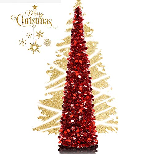 EEX 5ft Collapsible Artificial Christmas Tree, Pop Up Tinsel Coastal Christmas Tall Skinny Tree with Stand, Sequin Pensil Tree for Apartment Home Office Store Holiday Decorations (Rose Red)