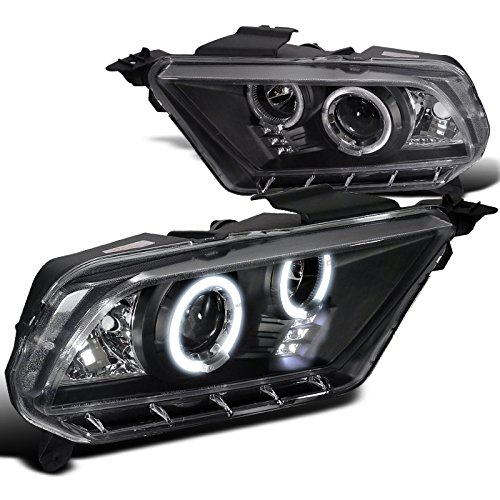 Spec-D Tuning LHP-MST10JM-TM Ford Mustang Black Led Dual Halo Projector Head Lights