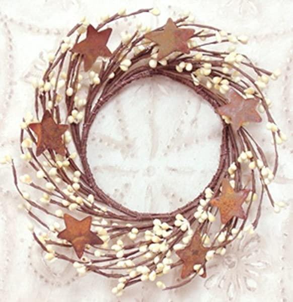 Wreath 4 Vanilla Ivory Pip Berry And Rusty Star Wreath Primitive Country Rustic Twig Decor
