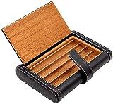 APcjerp Fumar Set/Cedro Cuero Forro portátil de Viaje Caja de Cigarrillos Puede sostener 4 cigarros de Almacenamiento Caja de Regalo Negro Silencio cigarro de múltiples Funciones de los Hombres