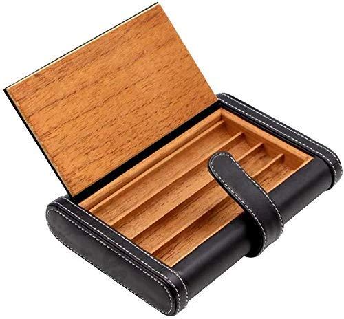 Dirgee Conjunto de Fumadores/Cedar Forro de Madera Cuero de Cuero Portátil Caja de Cigarrillos Can Hold 4 Cigands Multifuncional Men's Gift Box Black Mute Cigar Growm