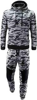 omniscient Men Camo Print Hoodie Sweatshirt Two Pieces Sport Pants Sweatsuit Outfit Set