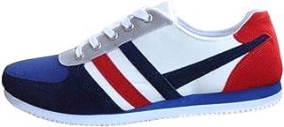 Zapatos Planos con Cordones para Hombres Zapatos Casuales Zapatos de Lona Zapatillas de Deporte Respirable para Correr Deportes Zapatos Running Calzado 39-46 riou