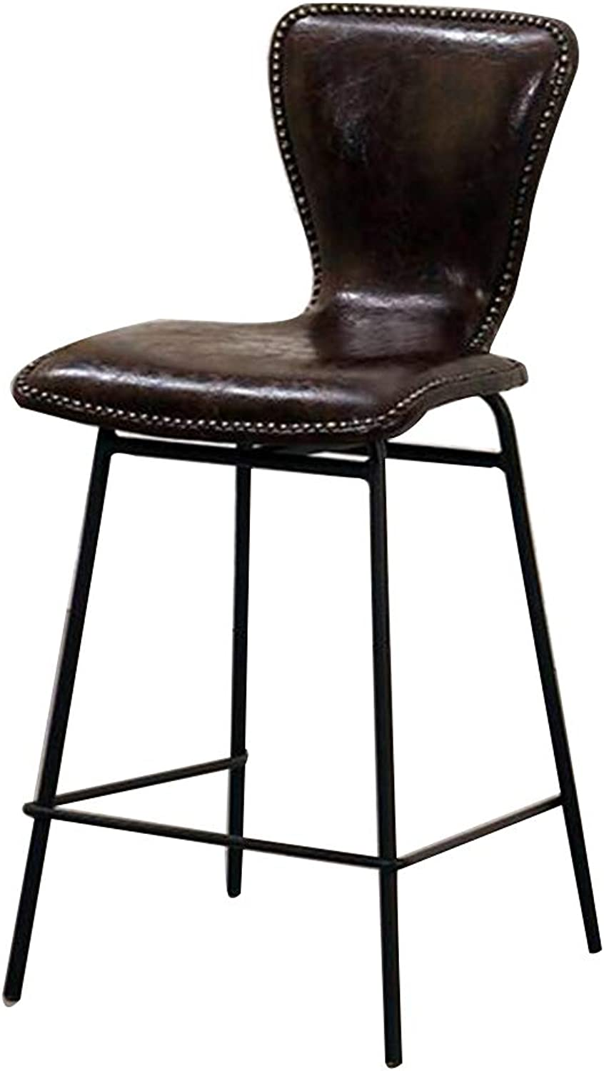 MEIDUO Chairs Bar Stool with Back Metal Durability Stability Retro Industrial Chair Style 4 colors (color   C)