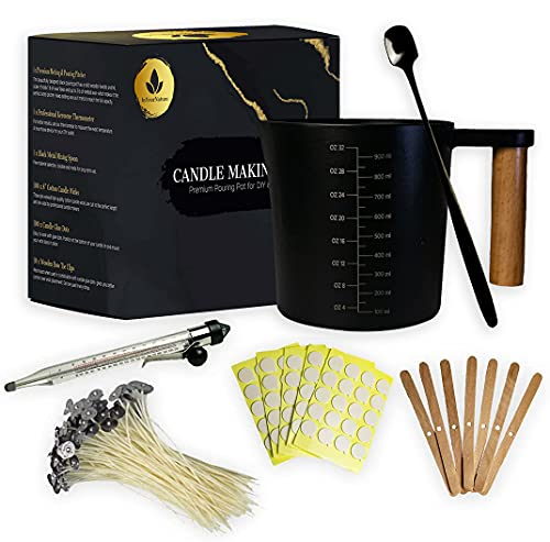 InYourNature Candle Making Kit Supplies, 32oz Melting & Pouring Pot, Thermometer, 100 Cotton Wicks, 100 Wick Stickers, 10 Wick Holders, Mixing Spoon, Soy Wax & Beeswax Candle Maker Kit for Adults DIY