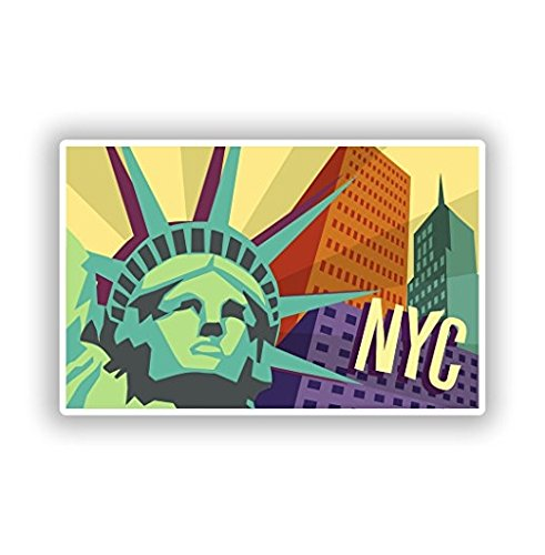 3 Pack - New York City NYC Vinyl Stickers Travel Luggage - Sticker Graphic - Construction Toolbox, Hardhat, Lunchbox, Helmet, Mechanic, Luggage