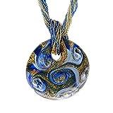 Venetiaurum - Collar para Mujer de múltiples hilos con Colgante en Cristal de Murano Original y Plata 925 - Joya Certificada Made in Italy