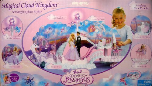BARBIE and The MAGIC of PEGASUS Magical Cloud KINGDOM 20+ Pieces PLAY SET w 'Flying' PONIES & LIGHTS (2005) by Mattel