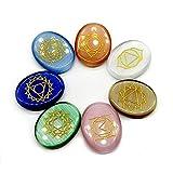 FISH4 7 Unid/Set Tallado Natural Chakra Meditación Piedra Ágata Tallado de Cristal Relajación Preocupación curación Medallón Runa Decoración Artesanía