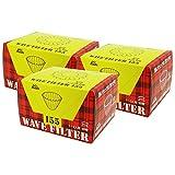 Kalita (カリタ) コーヒーフィルター ウェーブシリーズ ホワイト 1~2人用 50枚入り×3個セット KWF-155 #22211