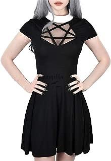 Halloween Womens Pentagram Mesh Dress Gothic Vintage Romantic Casual Short Sleeve Dress for Women