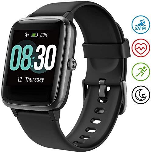 UMIDIGI Uwatch3 Smartwatch Fitnessuhr 5 ATM wasserdichte Smart Watch Fitness Tracker Armbanduhr Pulsuhr Schrittzähler mit Herzfrequenz Schlaftracker für Damen Herren Kompatibel Android IOS, Schwarz