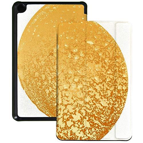 QIYI Funda tipo libro para tablet Amazon Fire 7 (9.ª generación, 2019), funda para lector de libros electrónicos de piel sintética, funda protectora de triple pliegue, color amarillo