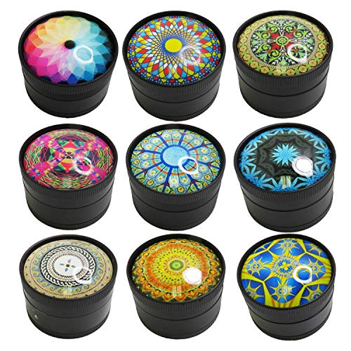 SK Depot™ Herb Grinder 2 Inch Spice with 2 Layers, 2 Inches 50mm 3 Pieces Metal Grinder, Magnetic Lid, Sharp 64 Teeth…