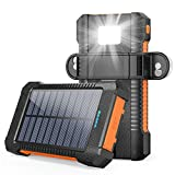 Solar Charger 26,800mAh, LATIMERIA Solar Power Bank Portable Battery Pack Dual USB Outputs, Phone Backup Charger IPX4 Waterproof with Camping Light, Solar Panel and Suction Cup Mount (Orange)