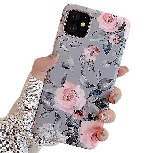 Ownest Kompatibel mit iPhone 11 Hülle mit Purple Floral und graue Blätter für Mädchen Frauen-Blätter mit Blumen-Muster Romantisches Elegantes weiches TPU für iPhone 11-Rosa Blumen