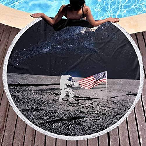 Strandfilt yttre rymden gobeläng yogamatta tofsar cirkel måne astronaut på universum med amerikansk flagga mjölkig väg inspirerad framtida bild mikrofiber strandhandduk för resor brun blå (diameter 150 cm)