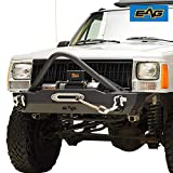 EAG Stinger Stubby Front Bumper with Winch Plate Fit for 1984-2001 Cherokee XJ