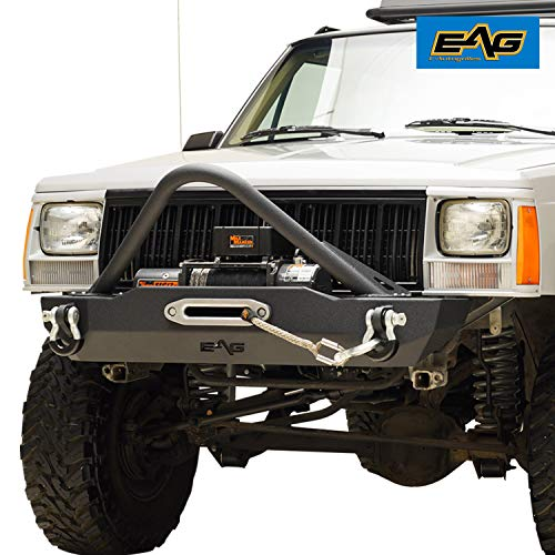 EAG Stinger Stubby Front Bumper with Winch Plate Fit for 1984-2001 Jeep Cherokee XJ