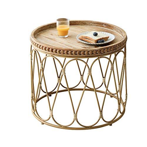 Diaod Mesa de té Redonda de ratán Resistente a los arañazos Resistente al Desgaste, diseño de Tejido, Muebles de Troncos Modernos nórdicos duraderos, Tabl de té pequeño de ratán