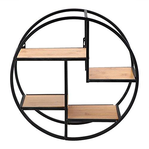 Ronde wandplank, Ronde Wandplank Unit, Vintage ronde richel, Retro metalen opberglijst, Industriële stijl hout ijzer Craft ronde muur plank Display Rack opslag eenheid Home Decor
