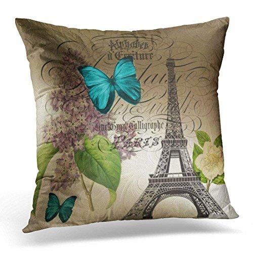 Fundas de Cojines Housses de Coussin décoratives à fermeture éclair Purple French Lilac Modern Paris Eiffel Tower Blue Botanical