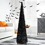 5' Black Tinsel Pop-Up Artificial Halloween Christmas Tree,Collapsible Pencil Halloween...