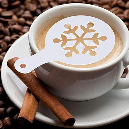 8 Stück Weihnachten Schablonen für Kakaopulver Schokopulver Zucker Zimt Mehl Gewürz, Schokoladenstreuer Kaffeeschablonen