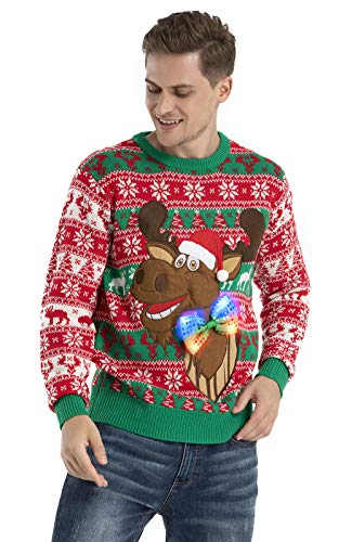 OFF THE RACK Mens Unisex Herren Lustig LED Weihnachtspullover Pullover Sweater, Dis Rudy, who dat, XXL