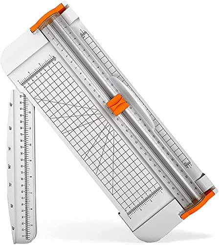 Papierschneider,A4 Papier Schneidegerät Tragbare Schneidebrett Papier mit Fingerschutz und Seiten Lineal Schneidemaschine Papier für Papier, Fotos, Handwerksprojekt, Etikett und Foto LE-TION