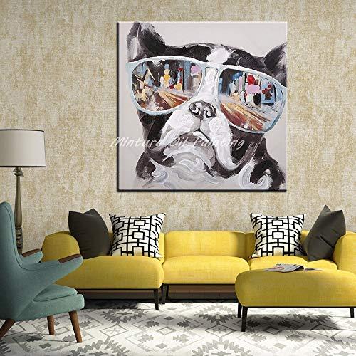 Origineel olieverfschilderij voor handgeschilderd, hond met bril dier nieuwigheid abstract modern en kleurrijk canvas handgeschilderd schilderij en afbeeldingen voor decoraties slaapkamer woonkamer muur kunst Han 120×120 cm Frameless