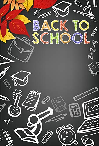 AOFOTO 6x8ft Back to School Theme Background Leaves Computer Notebook Counter Pens Microscope Alarm Clock Compasses Photography Backdrop School Opening Graduation Ceremony Photo Booth Prop