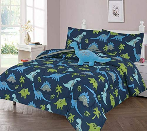 GorgeousHomeLinen Boys Girls Teens Twin/Full Comforter Bedding Set with Matching Sheets and Small Decorative Pillow Bed Dressing for Kids (Dinosaur Blue, Twin)