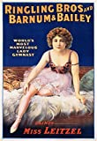 Ringling Bros and Barnum and Bailey - Dainty Miss Leitzel (sitting) Vintage Poster USA c. 1918 (36x54 Giclee Gallery Print, Wall Decor Travel Poster)