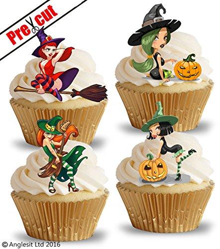 vorgeschnittenen Sexy Hexen essbarem Reispapier/Waffel Papier Cupcake Kuchen Topper Halloween Geburtstag Gothic Party Dekorationen