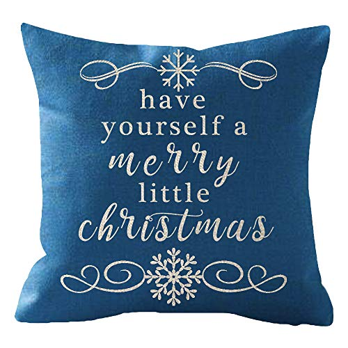 ITFRO Sister Birthday Have Yourself A Merry Little Christmas Snowflakes Blue Cotton Burlap Linen Throw Pillowcase Cushion Cover Sofa Outdoor Decorative Square 18x18 Inches