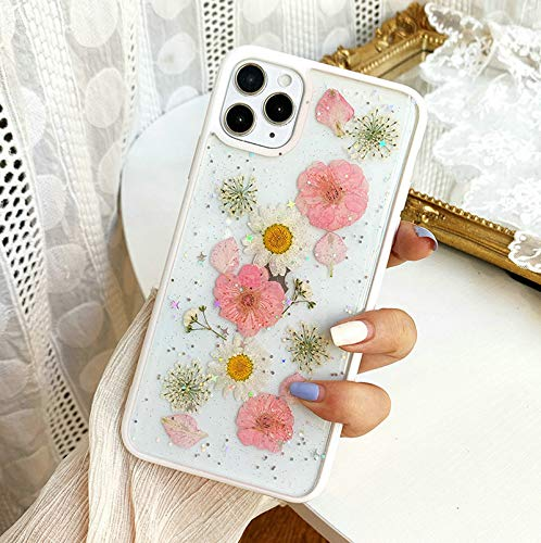 Compatible with iPhone 12 Pro Flower Case, Shinymore Cute Pretty Soft Silicone Clear Flexible Rubber Pressed Dry Real Flowers Case Girls Glitter Floral Cover Compatible with iPhone 12/12 Pro-Pink
