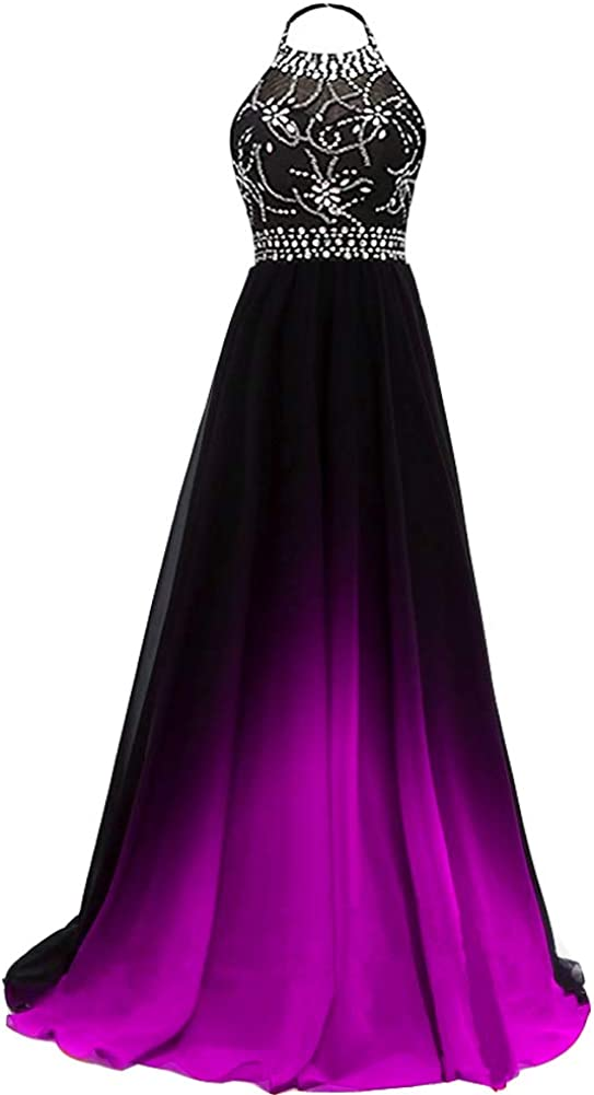 Lemai Women's Ombre Max 82% OFF Chiffon Beaded Gradient Prom Dr Evening NEW Long
