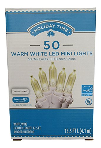 Holiday Time 50 Warm White LED Mini Lights, White Wire, Lighted Length 12.5 Ft