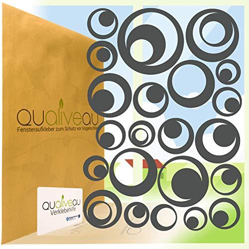 Qualiveau® 22 Retro Kreise Aufkleber zum Schutz vor Vogelschlag   Komplett – Set mit Verklebehilfe   Farbe: Dunkelgrau