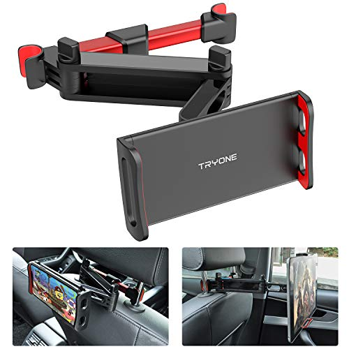 Tryone Soporte Tablet Coche, Soporte Reposacabezas Coche - Extensible Soporte para Tablet Móvil iPad/Samsung Galaxy Tabs/Amazon Kindle Fire HD/Nintendo Switch/Otros Dispositivos de 4.7-10.5 Pulgadas