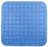 Brandsseller - Tappetino per Vasca da Doccia 53x53cm Anti Slip con Ventosa Trasparente/Blu