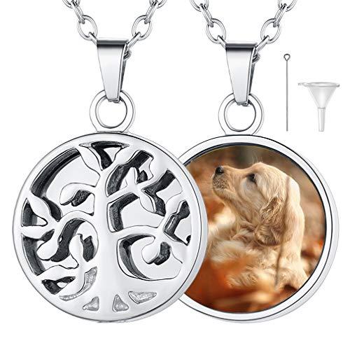 FaithHeart Arbol de Vida Corazón Collar Urna para Cenizas de Cremación Acero Inoxidable 316L Joyería Moderna para Hombres y Mujeres Colgante Conmemorativo de Mascotas y Queridos
