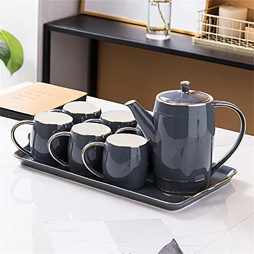 Conjunto de té europeo Conjunto de té europeo de lado de oro, línea de oro con cuchara de oro, taza de café, colección de té