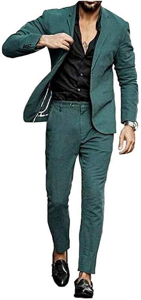 TOPG Men's Two Button 2 Pieces Casual Suit Slim Fit Wedding Groom Suit