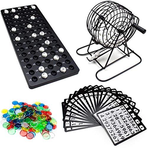 Susian Juego de Bingo de Lujo con Jaula de Bingo Bolas de Bingo Cartones de Bingo y fichas de Bingo, 1 * Caja giratoria, 75 * Bolas de números, 18 * cartones, 150 * Marcas