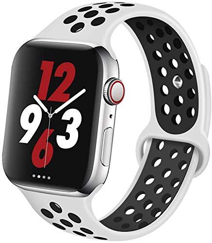 VIKATech Für Apple Watch Armband 44mm 42mm, Weiche Silikon Ersatz Armbänder für Apple Watch Armband Series 5/4/3/2/1, Sport, Edition, M/L, Weiß/Schwarz