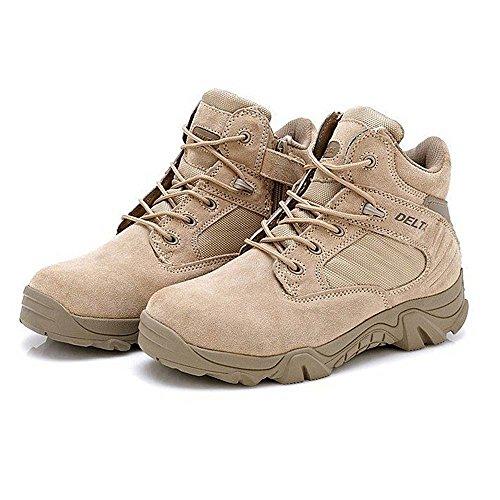 ATAIRSOFT Hombres Ejército militar Táctico Deportes al aire libre Camping Senderismo Trabajo de combate Cordones Transpirable Bajo superior Cremallera lateral Desierto Zapatos de cuero Botas DE Tan Caqui